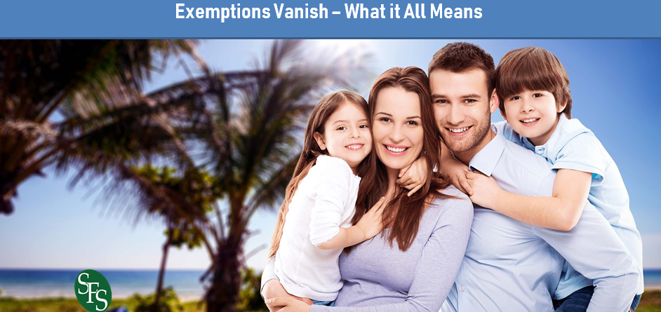 The Seesaw Standard Deductions and Child Tax Credits Double, Personal Exemptions Vanish, What it All Means, SFS Tax Problem Solutions, Family of Four, Tropical Location, Beach Background
