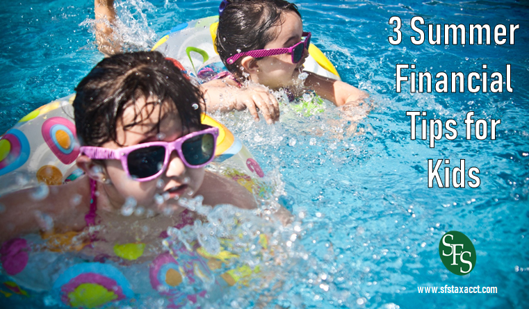 3 Summer Financial Tips for Kids, SFS Tax, SFS Tax and Accounting, Kids Swimming, Pool, Kids in Floats, Sunglasses, Kids in Sunglasses