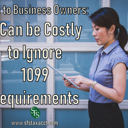 Note to Business Owners, It Can be Costly to Ignore 1099 Requirements, SFS Tax, Woman in Business Dress, Ipad, windows, urban environment