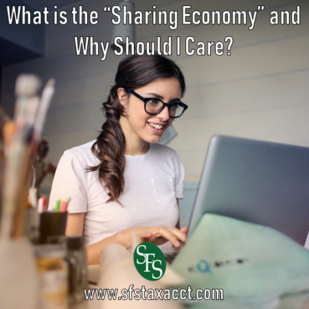What is the Sharing Economy and Why Should I Care, SFS Tax, SFS Tax and Accounting Services, woman working, woman in glasses, side ponytail, brunette, laptop, paintbrushes, colored pencils