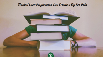 Helping Students or a Nasty Surprise, Student Loan Forgiveness Can Cause a Big Tax Debt, SFS Tax, SFS Tax and Accounting, books, student hiding behind books, green shirt, black bracelets, wood table