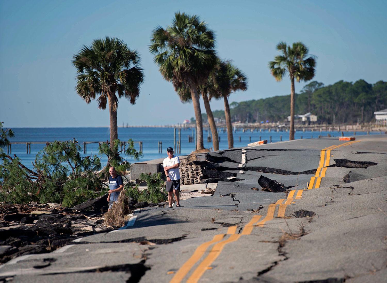 IRS Extends Deadlines for Victims of Hurricane Michael, destruction, men, street, florida