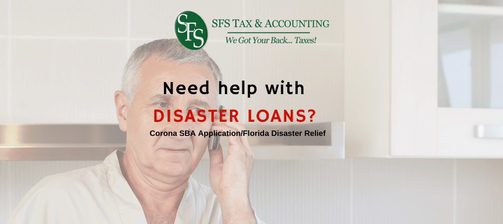 Disaster loan- man on cell phoe calling for disaster loan help- sfs tax & accounting services