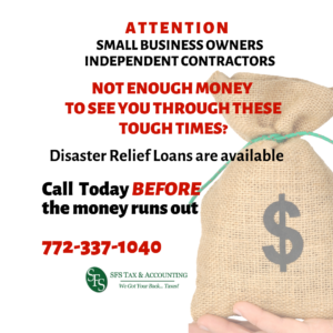 SBA Disaster Loan Help from SFS Tax Acct -hand holding money bag -