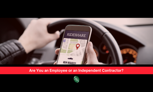 Employee or an Independent Contractor? Man's hand holding cell phone with the words Rideshare on the screen. Text Are You an Employee or an Independent Contractor