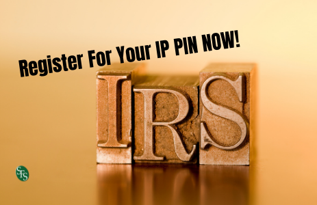 Wooded blocks that say IRS and text that reads cRegister for your IP PIN Now!